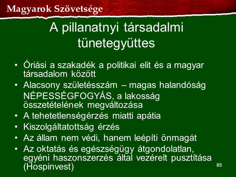 A pillanatnyi társadalmi tünetegyüttes •Óriási a szakadék a politikai elit és a magyar társadalom között •Alacsony születésszám – magas halandóság NÉP