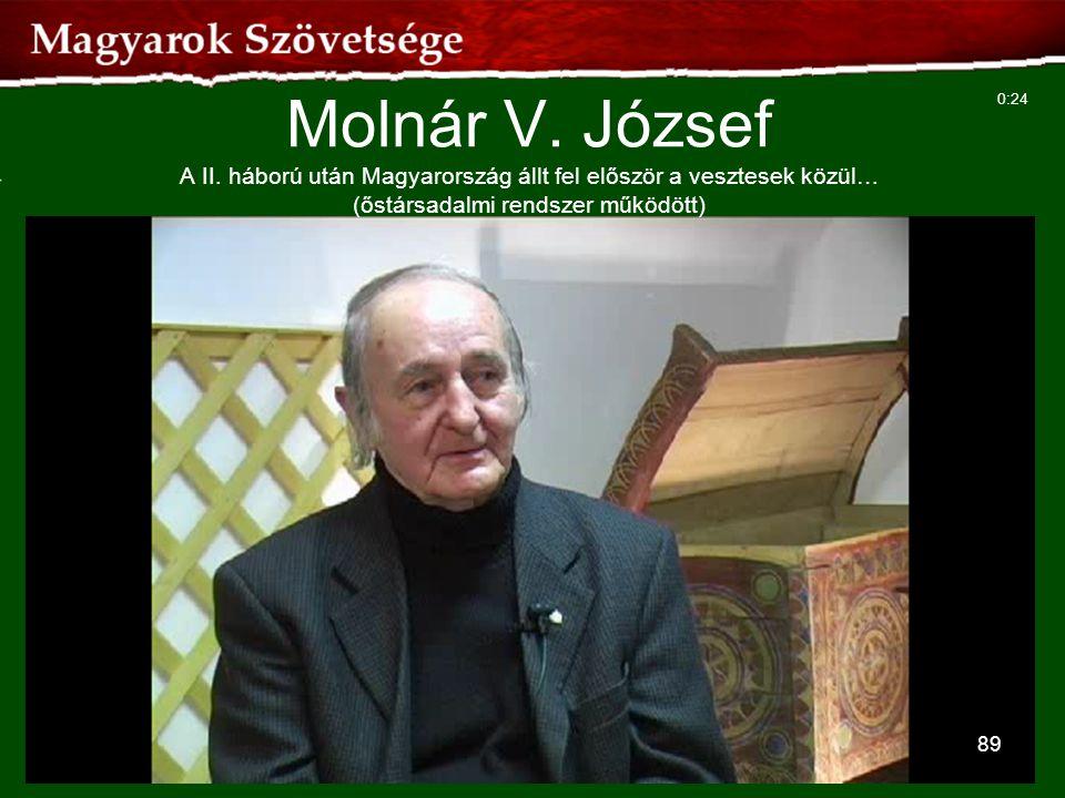 89 Molnár V. József A II. háború után Magyarország állt fel először a vesztesek közül… (őstársadalmi rendszer működött) 0:24