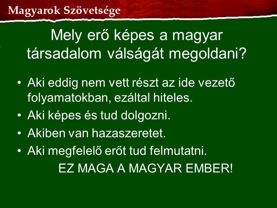 Mely erő képes a magyar társadalom válságát megoldani? •Aki eddig nem vett részt az ide vezető folyamatokban, ezáltal hiteles. •Aki képes és tud dolgo