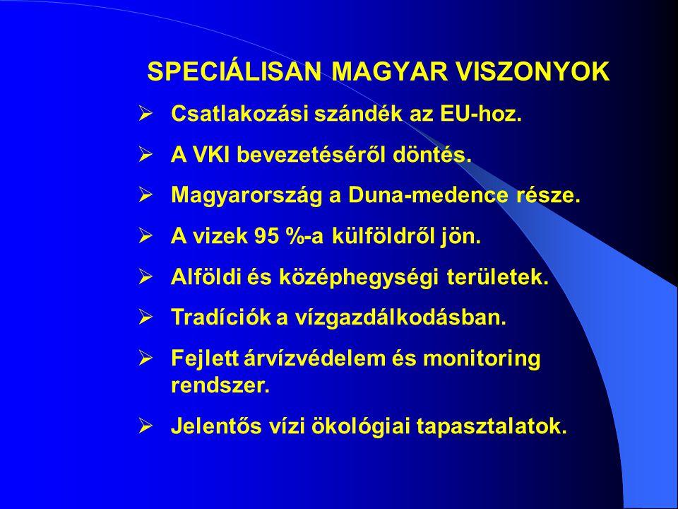 SPECIÁLISAN MAGYAR VISZONYOK  Csatlakozási szándék az EU-hoz.  A VKI bevezetéséről döntés.  Magyarország a Duna-medence része.  A vizek 95 %-a kül