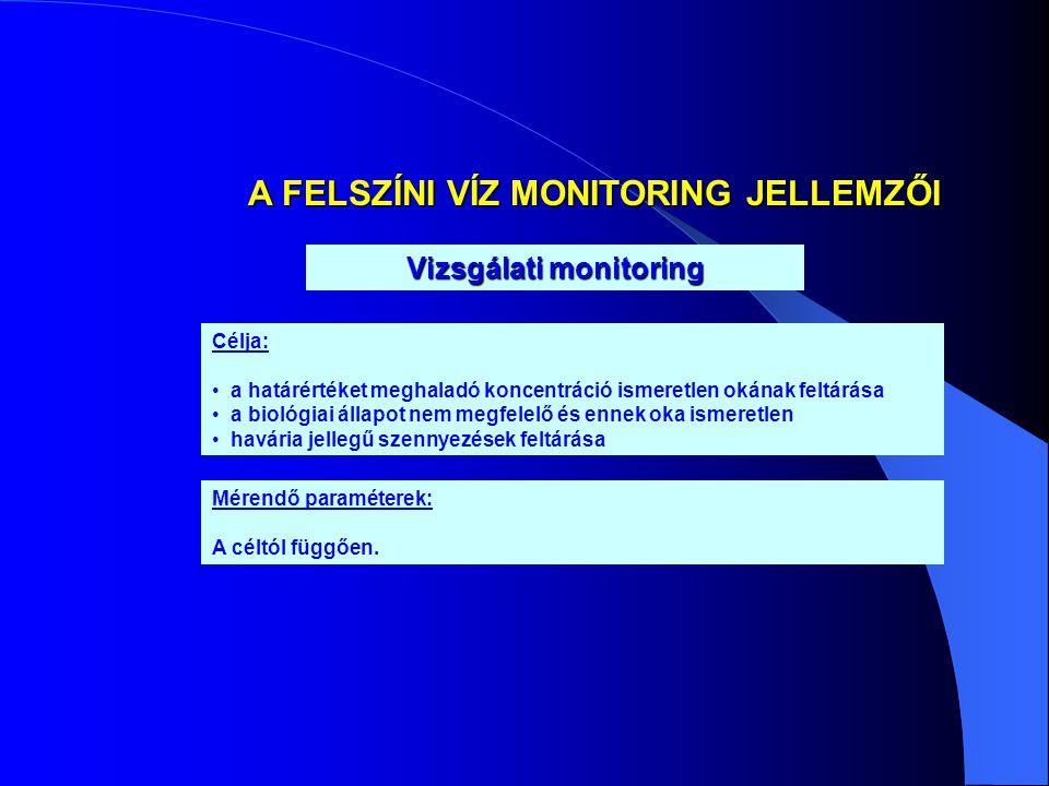 A FELSZÍNI VÍZ MONITORING JELLEMZŐI Vizsgálati monitoring Mérendő paraméterek: A céltól függően. Célja: • a határértéket meghaladó koncentráció ismere