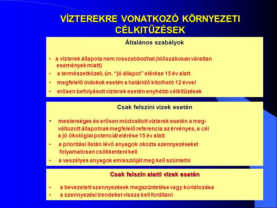 VÍZTEREKRE VONATKOZÓ KÖRNYEZETI CÉLKITŰZÉSEK Általános szabályok • a vízterek állapota nem rosszabbodhat (időszakosan váratlan események miatt) • a te