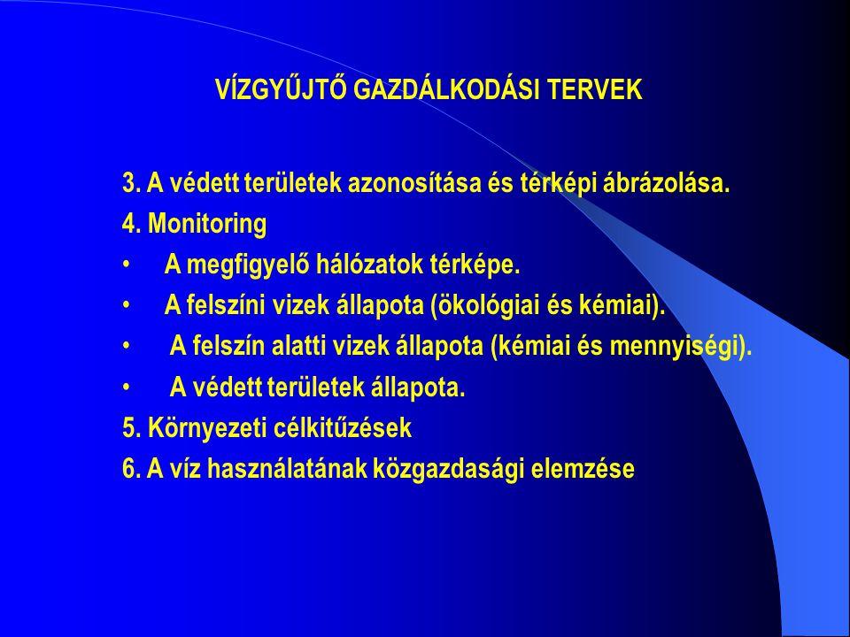VÍZGYŰJTŐ GAZDÁLKODÁSI TERVEK 3. A védett területek azonosítása és térképi ábrázolása. 4. Monitoring • A megfigyelő hálózatok térképe. • A felszíni vi