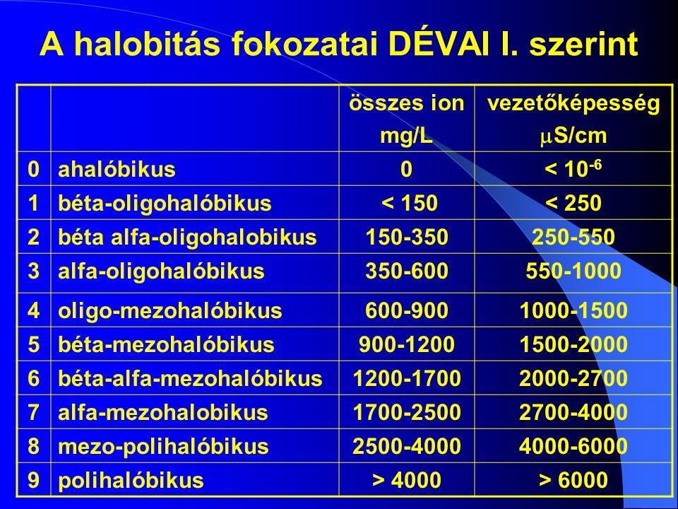 A halobitás fokozatai DÉVAI I. szerint összes ion mg/L vezetőképesség  S/cm 0ahalóbikus0< 10 -6 1béta-oligohalóbikus < 150< 250 2béta alfa-oligohalob