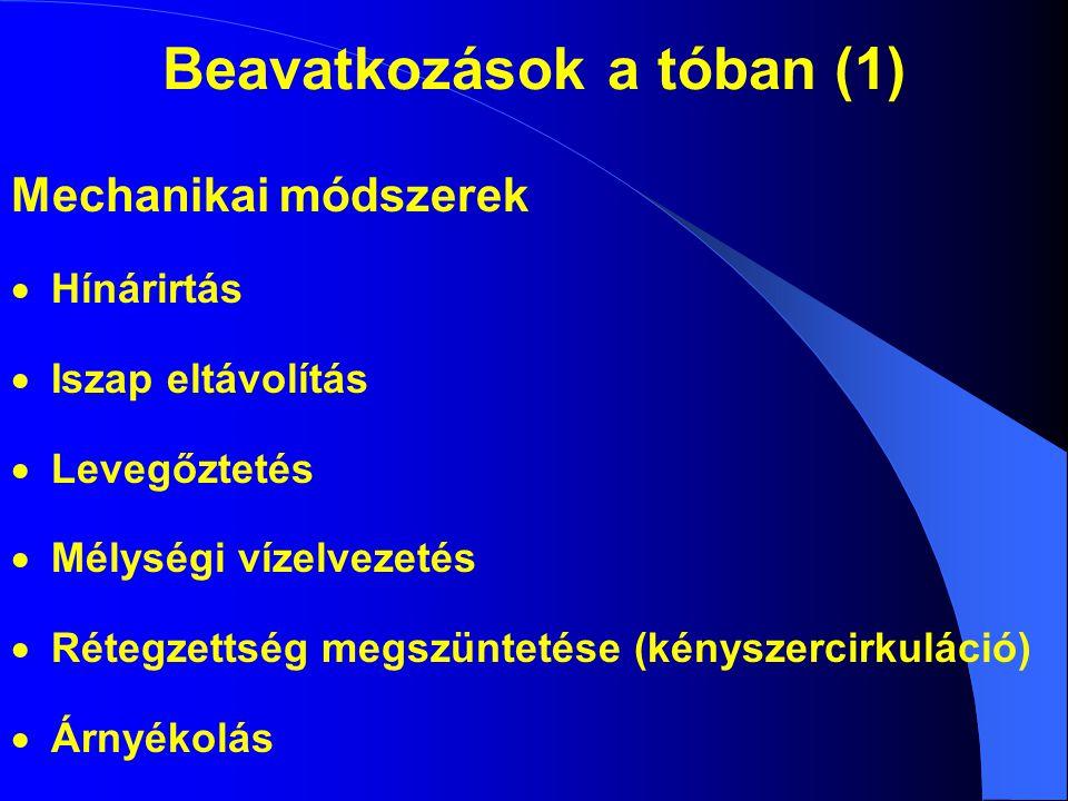 Beavatkozások a tóban (1) Mechanikai módszerek  Hínárirtás  Iszap eltávolítás  Levegőztetés  Mélységi vízelvezetés  Rétegzettség megszüntetése (k