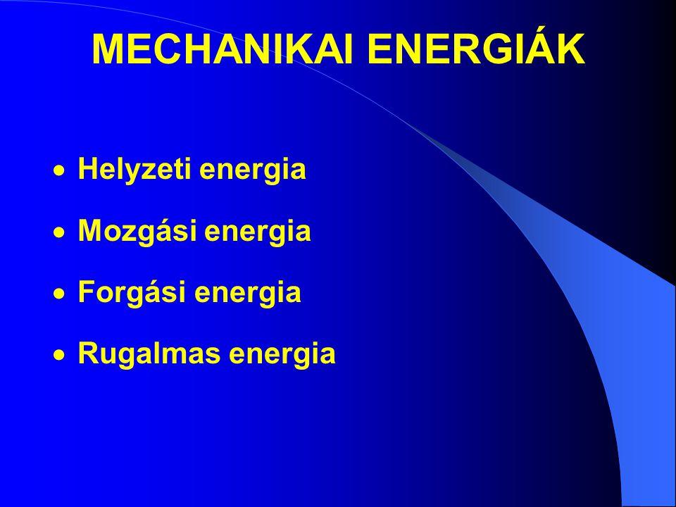 MECHANIKAI ENERGIÁK  Helyzeti energia  Mozgási energia  Forgási energia  Rugalmas energia