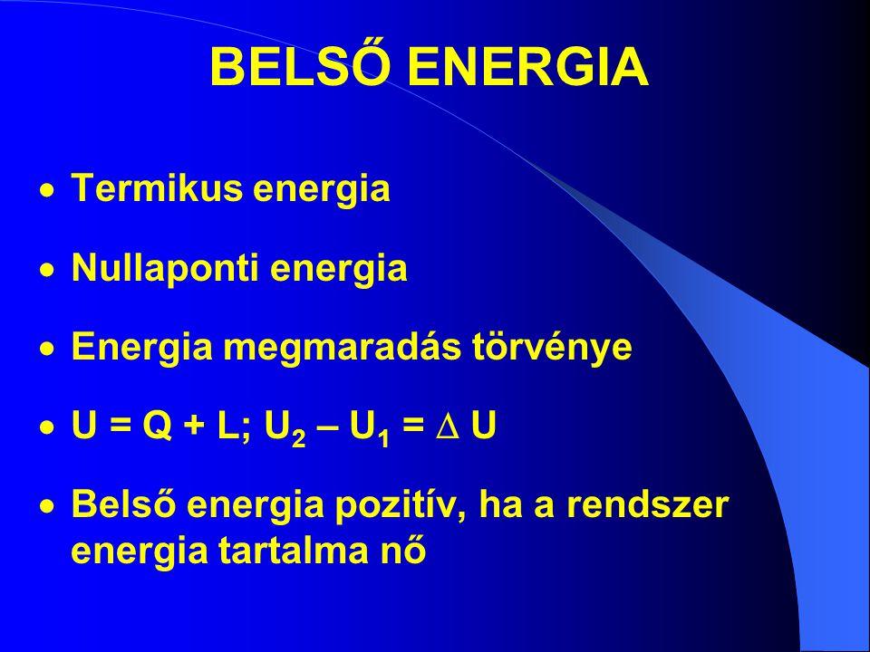 BELSŐ ENERGIA  Termikus energia  Nullaponti energia  Energia megmaradás törvénye  U = Q + L; U 2 – U 1 =  U  Belső energia pozitív, ha a rendsze