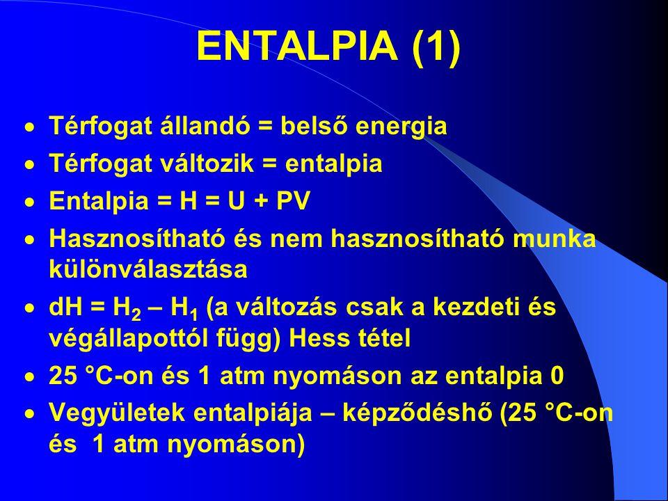 ENTALPIA (1)  Térfogat állandó = belső energia  Térfogat változik = entalpia  Entalpia = H = U + PV  Hasznosítható és nem hasznosítható munka külö