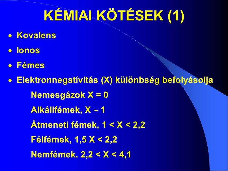 KÉMIAI KÖTÉSEK (1)  Kovalens  Ionos  Fémes  Elektronnegatívitás (X) különbség befolyásolja Nemesgázok X = 0 Alkálifémek, X  1 Átmeneti fémek, 1 <