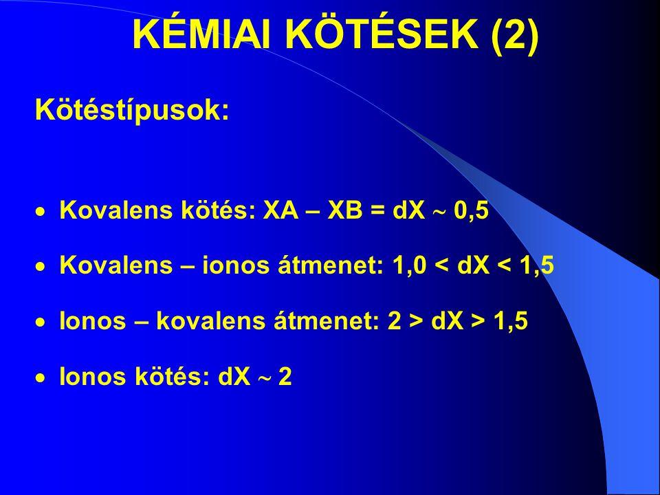 KÉMIAI KÖTÉSEK (2) Kötéstípusok:  Kovalens kötés: XA – XB = dX  0,5  Kovalens – ionos átmenet: 1,0 < dX < 1,5  Ionos – kovalens átmenet: 2 > dX >