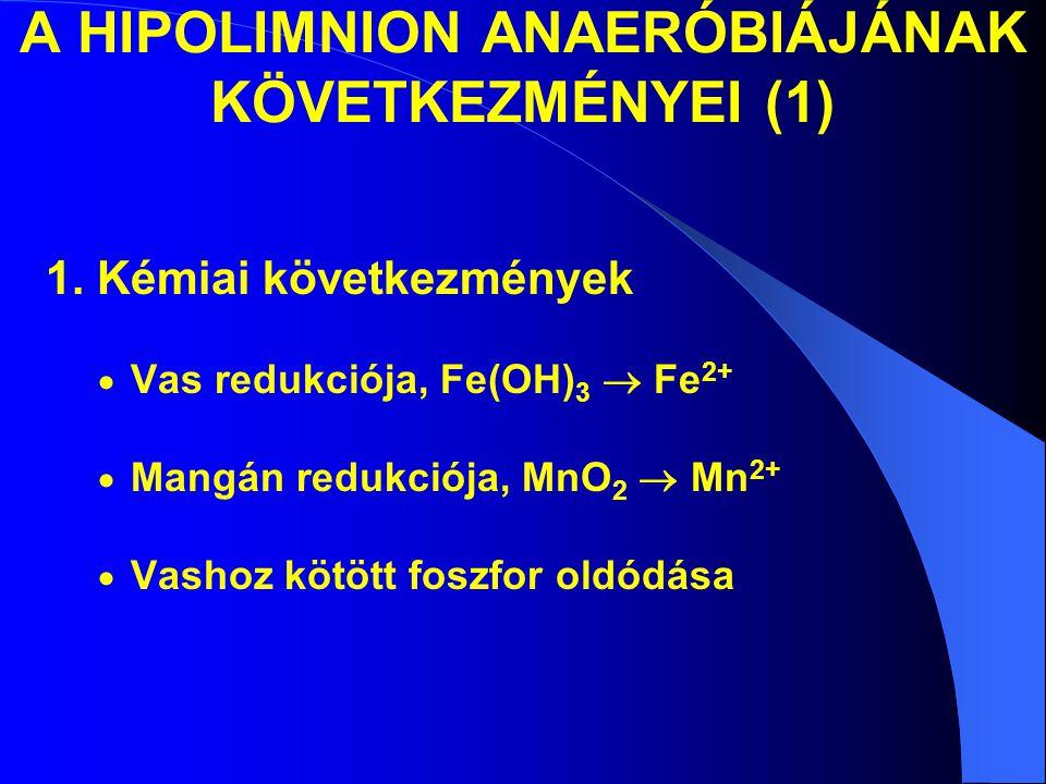 A HIPOLIMNION ANAERÓBIÁJÁNAK KÖVETKEZMÉNYEI (1) 1. Kémiai következmények  Vas redukciója, Fe(OH) 3  Fe 2+  Mangán redukciója, MnO 2  Mn 2+  Vasho