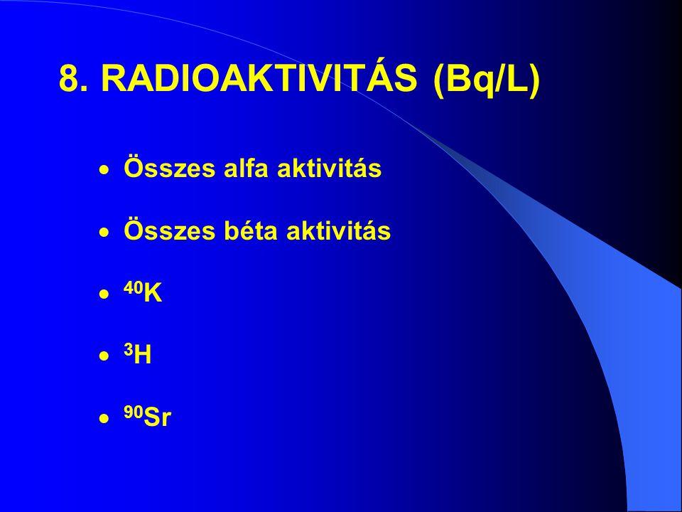 8. RADIOAKTIVITÁS (Bq/L)  Összes alfa aktivitás  Összes béta aktivitás  40 K 3H3H  90 Sr