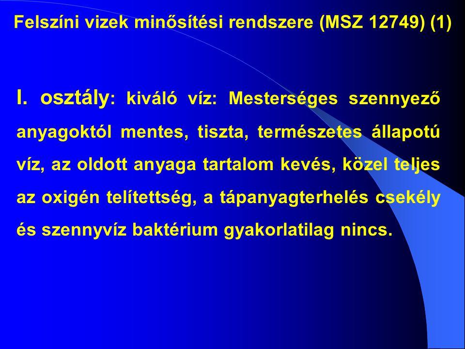 Felszíni vizek minősítési rendszere (MSZ 12749) (1) I. osztály : kiváló víz: Mesterséges szennyező anyagoktól mentes, tiszta, természetes állapotú víz