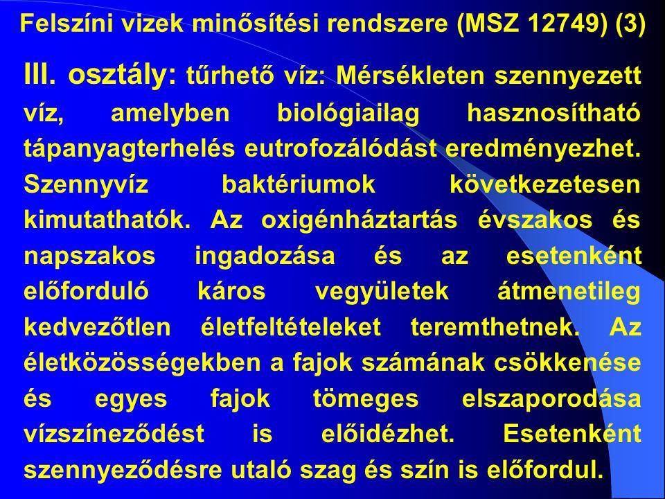 Felszíni vizek minősítési rendszere (MSZ 12749) (3) III. osztály: tűrhető víz: Mérsékleten szennyezett víz, amelyben biológiailag hasznosítható tápany