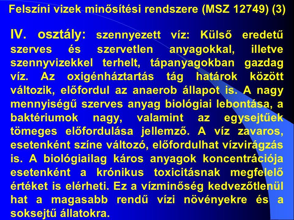 Felszíni vizek minősítési rendszere (MSZ 12749) (3) IV. osztály: szennyezett víz: Külső eredetű szerves és szervetlen anyagokkal, illetve szennyvizekk