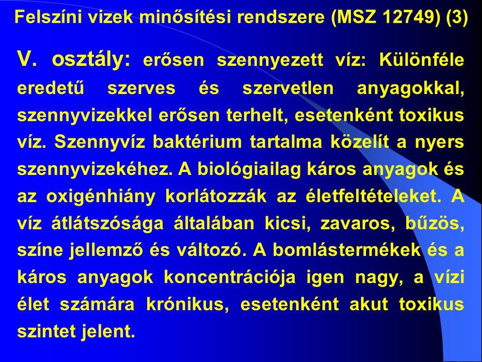 Felszíni vizek minősítési rendszere (MSZ 12749) (3) V. osztály: erősen szennyezett víz: Különféle eredetű szerves és szervetlen anyagokkal, szennyvize