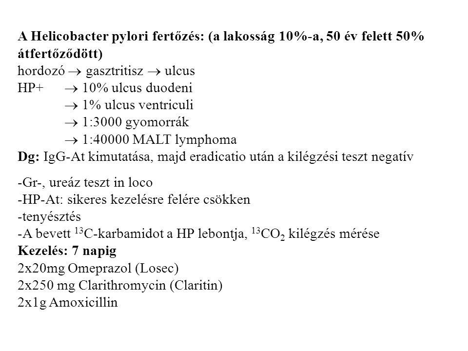 A Helicobacter pylori fertőzés: (a lakosság 10%-a, 50 év felett 50% átfertőződött) hordozó  gasztritisz  ulcus HP+  10% ulcus duodeni  1% ulcus ventriculi  1:3000 gyomorrák  1:40000 MALT lymphoma Dg: IgG-At kimutatása, majd eradicatio után a kilégzési teszt negatív -Gr-, ureáz teszt in loco -HP-At: sikeres kezelésre felére csökken -tenyésztés -A bevett 13 C-karbamidot a HP lebontja, 13 CO 2 kilégzés mérése Kezelés: 7 napig 2x20mg Omeprazol (Losec) 2x250 mg Clarithromycin (Claritin) 2x1g Amoxicillin