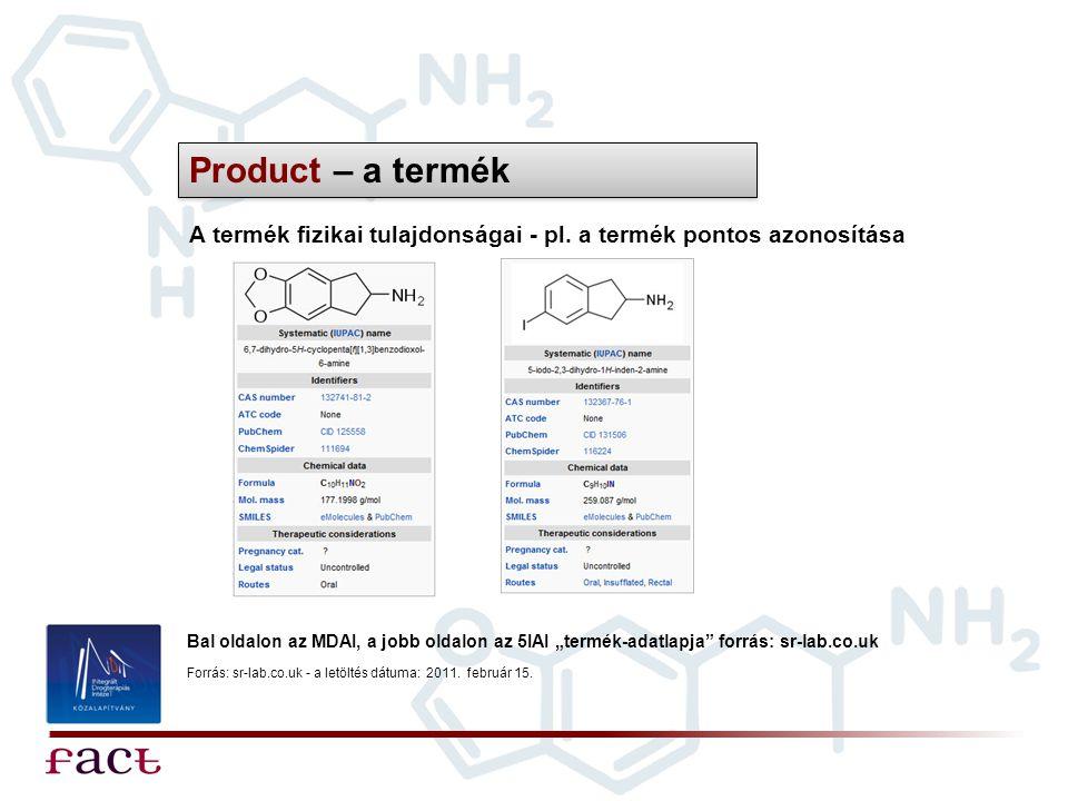"""Product – a termék A termék fizikai tulajdonságai - pl. a termék pontos azonosítása Bal oldalon az MDAI, a jobb oldalon az 5IAI """"termék-adatlapja"""" for"""