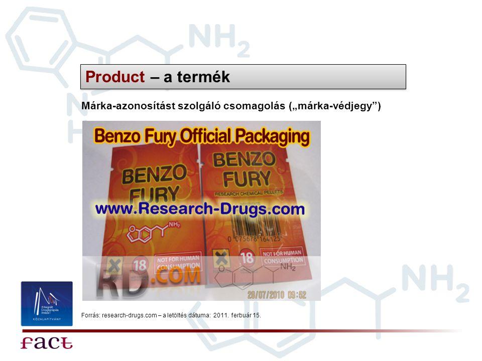 """Product – a termék Márka-azonosítást szolgáló csomagolás (""""márka-védjegy"""") Forrás: research-drugs.com – a letöltés dátuma: 2011. ferbuár 15."""