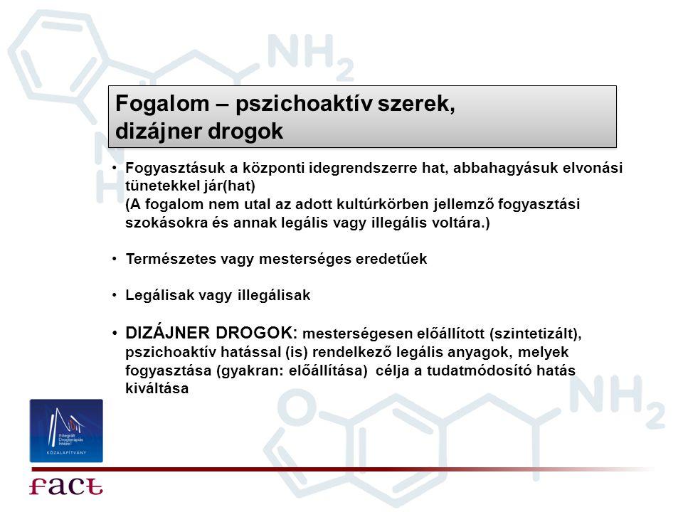 Fogalom – pszichoaktív szerek, dizájner drogok •Fogyasztásuk a központi idegrendszerre hat, abbahagyásuk elvonási tünetekkel jár(hat) (A fogalom nem u