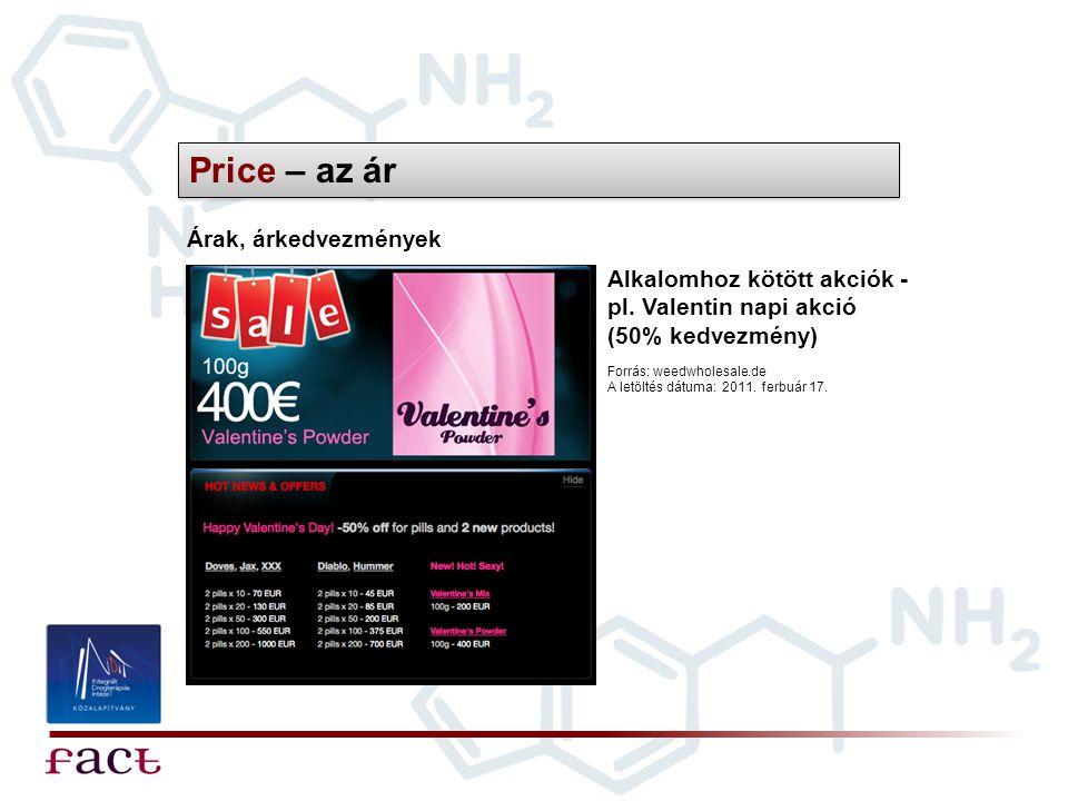 Price – az ár Árak, árkedvezmények Forrás: weedwholesale.de A letöltés dátuma: 2011. ferbuár 17. Alkalomhoz kötött akciók - pl. Valentin napi akció (5