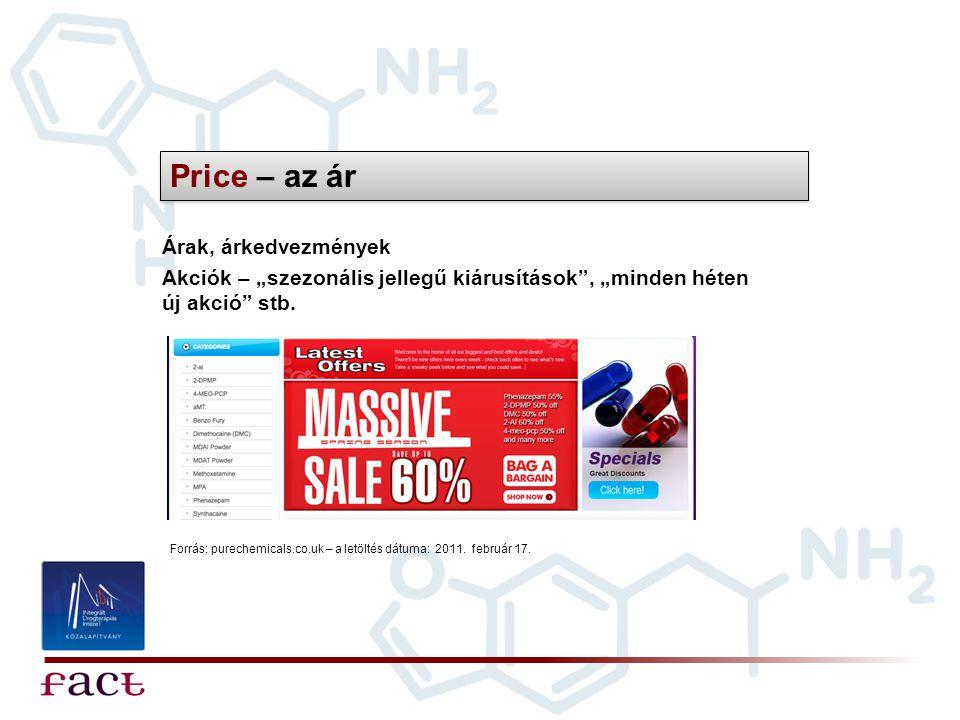 """Price – az ár Árak, árkedvezmények Forrás: purechemicals.co.uk – a letöltés dátuma: 2011. február 17. Akciók – """"szezonális jellegű kiárusítások"""", """"min"""