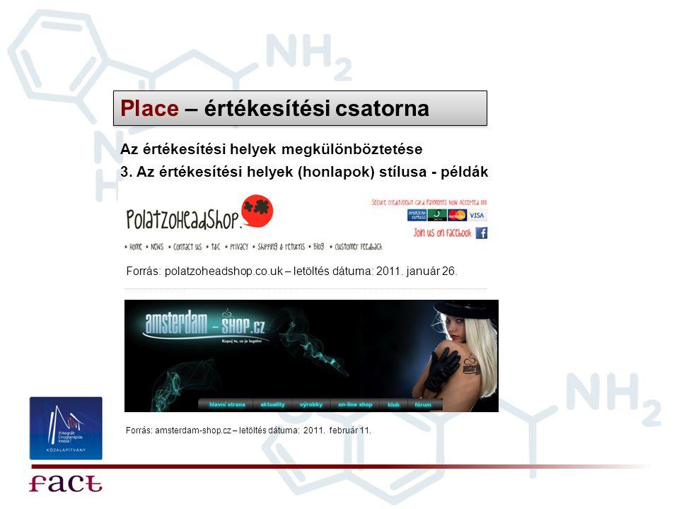 Place – értékesítési csatorna Az értékesítési helyek megkülönböztetése 3. Az értékesítési helyek (honlapok) stílusa - példák Forrás: polatzoheadshop.c