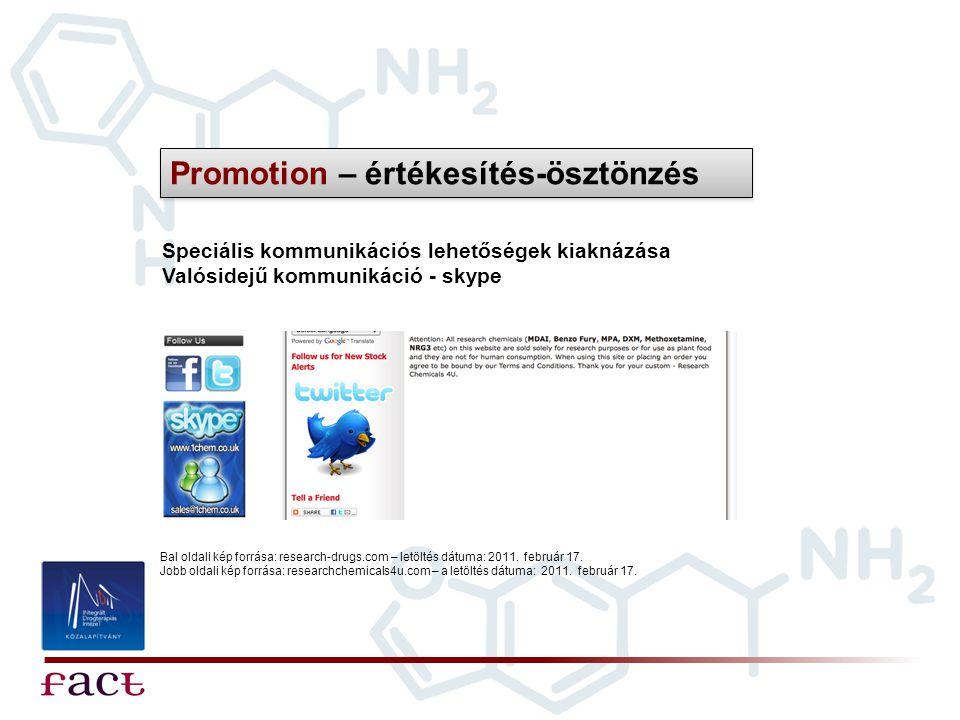 Speciális kommunikációs lehetőségek kiaknázása Valósidejű kommunikáció - skype Promotion – értékesítés-ösztönzés Bal oldali kép forrása: research-drug