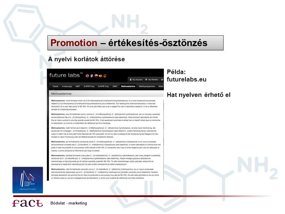 Bódulat - marketing Promotion – értékesítés-ösztönzés A nyelvi korlátok áttörése Példa: futurelabs.eu Hat nyelven érhető el