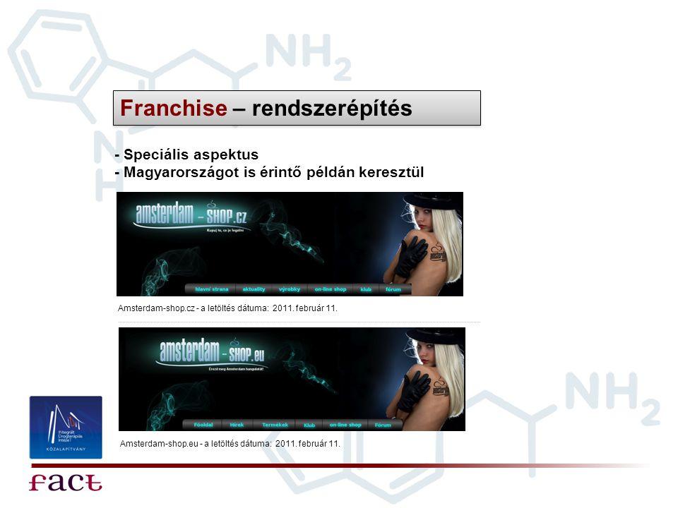 Franchise – rendszerépítés - Speciális aspektus - Magyarországot is érintő példán keresztül Amsterdam-shop.cz - a letöltés dátuma: 2011. február 11. A