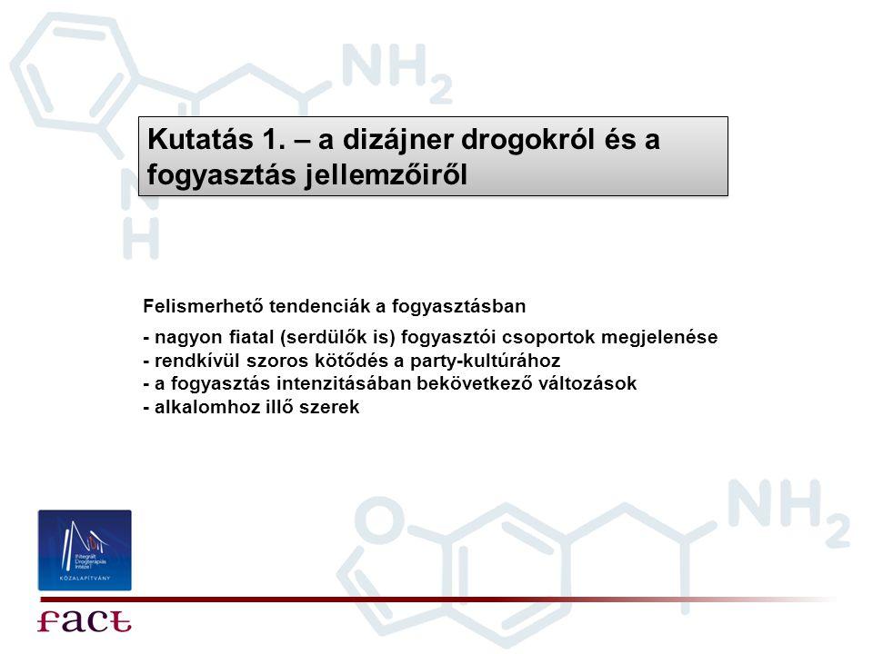 Kutatás 1. – a dizájner drogokról és a fogyasztás jellemzőiről Felismerhető tendenciák a fogyasztásban - nagyon fiatal (serdülők is) fogyasztói csopor
