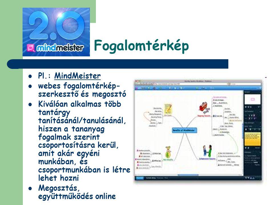 Fogalomtérkép  Pl.: MindMeister  webes fogalomtérkép- szerkesztő és megosztó  Kiválóan alkalmas több tantárgy tanításánál/tanulásánál, hiszen a tan