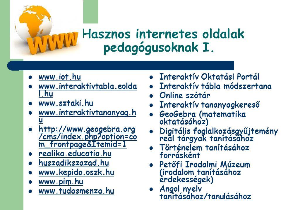Hasznos internetes oldalak pedagógusoknak I.  www.iot.hu www.iot.hu  www.interaktivtabla.eolda l.hu www.interaktivtabla.eolda l.hu  www.sztaki.hu w