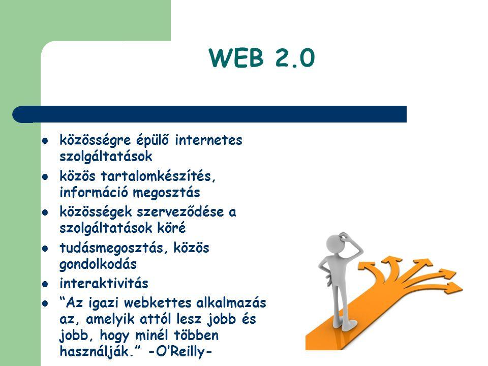 WEB 2.0  közösségre épülő internetes szolgáltatások  közös tartalomkészítés, információ megosztás  közösségek szerveződése a szolgáltatások köré 