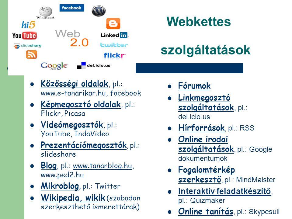Webkettes szolgáltatások  Közösségi oldalak, pl.: www.e-tanarikar.hu, facebook  Képmegosztó oldalak, pl.: Flickr, Picasa  Videómegosztók, pl.: YouT