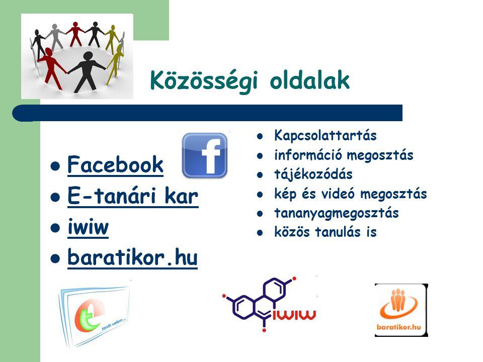Közösségi oldalak  Facebook  E-tanári kar  iwiw  baratikor.hu  Kapcsolattartás  információ megosztás  tájékozódás  kép és videó megosztás  ta