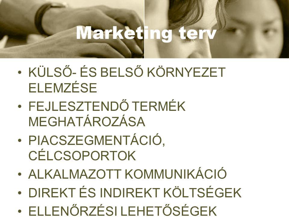 Marketing terv •KÜLSŐ- ÉS BELSŐ KÖRNYEZET ELEMZÉSE •FEJLESZTENDŐ TERMÉK MEGHATÁROZÁSA •PIACSZEGMENTÁCIÓ, CÉLCSOPORTOK •ALKALMAZOTT KOMMUNIKÁCIÓ •DIREK
