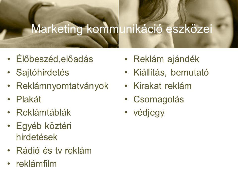 Marketing kommunikáció •Élőbeszéd,előadás •Sajtóhirdetés •Reklámnyomtatványok •Plakát •Reklámtáblák •Egyéb köztéri hirdetések •Rádió és tv reklám •rek