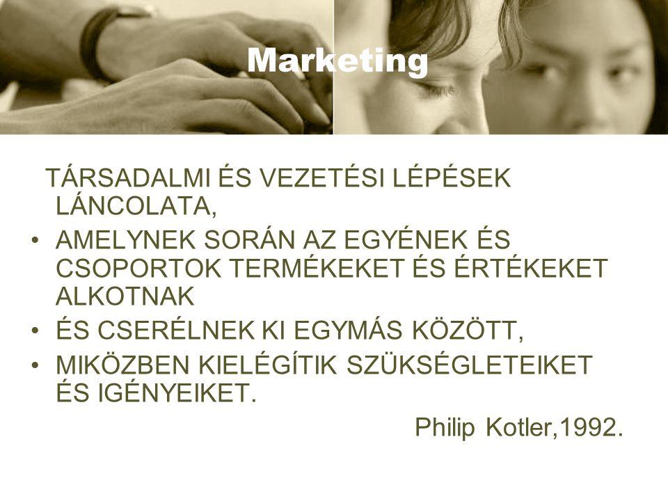 Marketing mix Szolgáltatás marketing (4 C vagy 7 P) •Customer solution/needs •Customer cost •Convenience •Communication •People •Physical evidence •Process •Termék marketing (4 P) •Product •Price •Place •Promotion