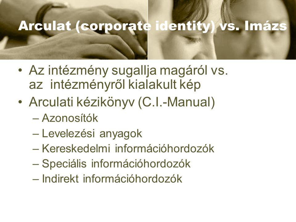 Arculat (corporate identity) vs. Imázs •Az intézmény sugallja magáról vs. az intézményről kialakult kép •Arculati kézikönyv (C.I.-Manual) –Azonosítók