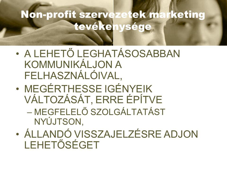 Non-profit szervezetek marketing tevékenysége •A LEHETŐ LEGHATÁSOSABBAN KOMMUNIKÁLJON A FELHASZNÁLÓIVAL, •MEGÉRTHESSE IGÉNYEIK VÁLTOZÁSÁT, ERRE ÉPÍTVE