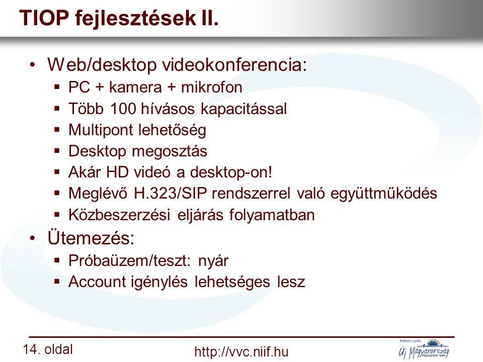 Nemzeti Információs Infrastruktúra Fejlesztési Intézet http://vvc.niif.hu 14.