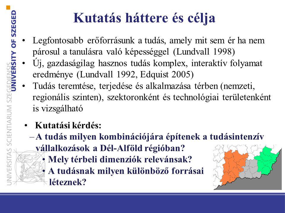 •Legfontosabb erőforrásunk a tudás, amely mit sem ér ha nem párosul a tanulásra való képességgel (Lundvall 1998) •Új, gazdaságilag hasznos tudás komplex, interaktív folyamat eredménye (Lundvall 1992, Edquist 2005) •Tudás teremtése, terjedése és alkalmazása térben (nemzeti, regionális szinten), szektoronként és technológiai területenként is vizsgálható Kutatás háttere és célja •Kutatási kérdés: –A tudás milyen kombinációjára építenek a tudásintenzív vállalkozások a Dél-Alföld régióban.