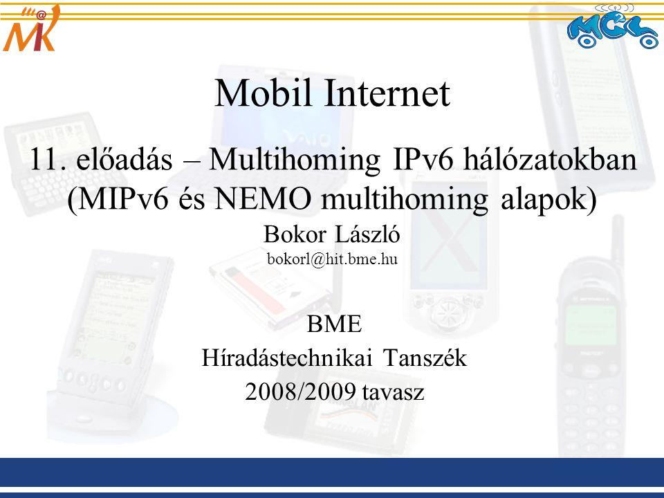 BME Híradástechnikai Tanszék 2008/2009 tavasz Mobil Internet 11. előadás – Multihoming IPv6 hálózatokban (MIPv6 és NEMO multihoming alapok) Bokor Lász