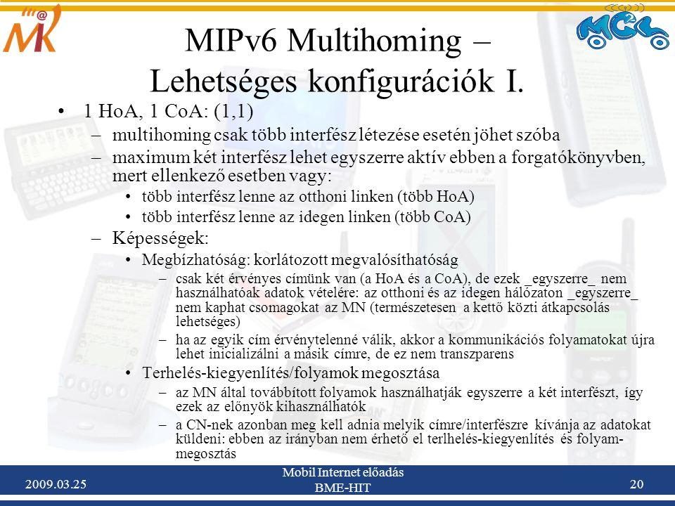 2009.03.25 Mobil Internet előadás BME-HIT 20 MIPv6 Multihoming – Lehetséges konfigurációk I. •1 HoA, 1 CoA: (1,1) –multihoming csak több interfész lét