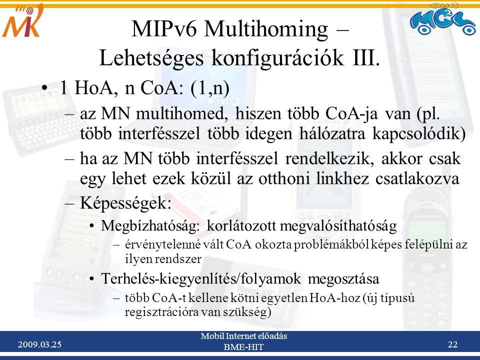 2009.03.25 Mobil Internet előadás BME-HIT 22 MIPv6 Multihoming – Lehetséges konfigurációk III. •1 HoA, n CoA: (1,n) –az MN multihomed, hiszen több CoA