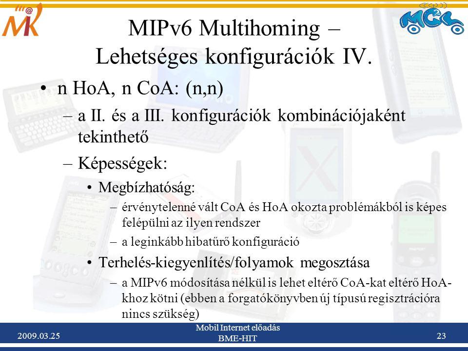 2009.03.25 Mobil Internet előadás BME-HIT 23 MIPv6 Multihoming – Lehetséges konfigurációk IV. •n HoA, n CoA: (n,n) –a II. és a III. konfigurációk komb