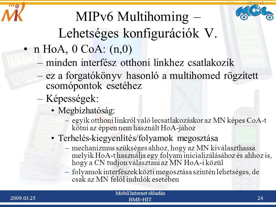 2009.03.25 Mobil Internet előadás BME-HIT 24 MIPv6 Multihoming – Lehetséges konfigurációk V. •n HoA, 0 CoA: (n,0) –minden interfész otthoni linkhez cs