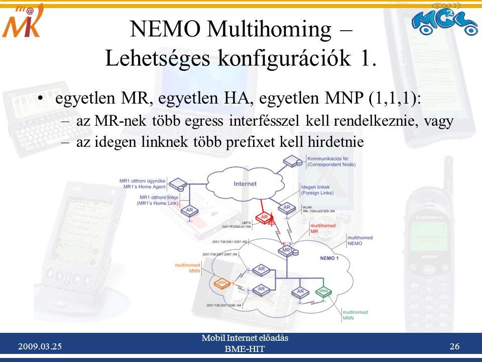 2009.03.25 Mobil Internet előadás BME-HIT 26 NEMO Multihoming – Lehetséges konfigurációk 1. •egyetlen MR, egyetlen HA, egyetlen MNP (1,1,1): –az MR-ne