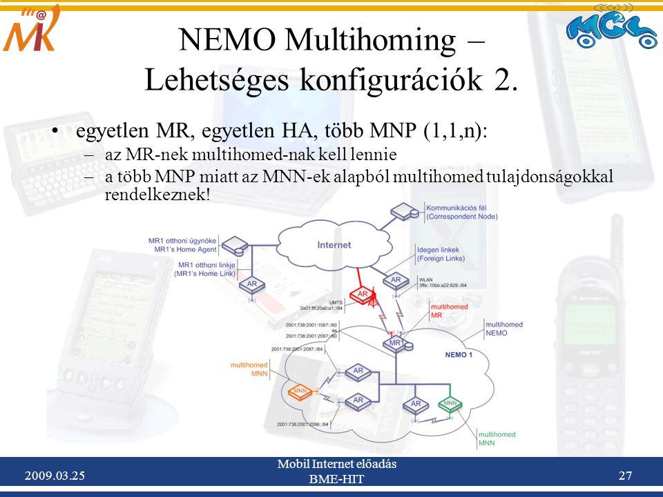 2009.03.25 Mobil Internet előadás BME-HIT 27 NEMO Multihoming – Lehetséges konfigurációk 2. •egyetlen MR, egyetlen HA, több MNP (1,1,n): –az MR-nek mu